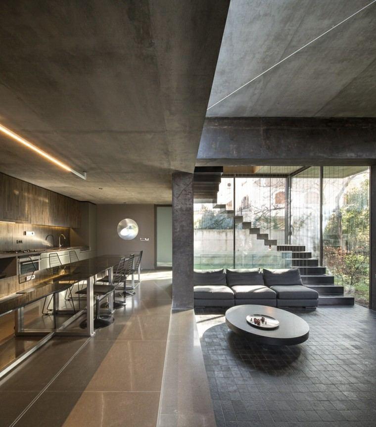 escalera gris espacio decoracion moderna