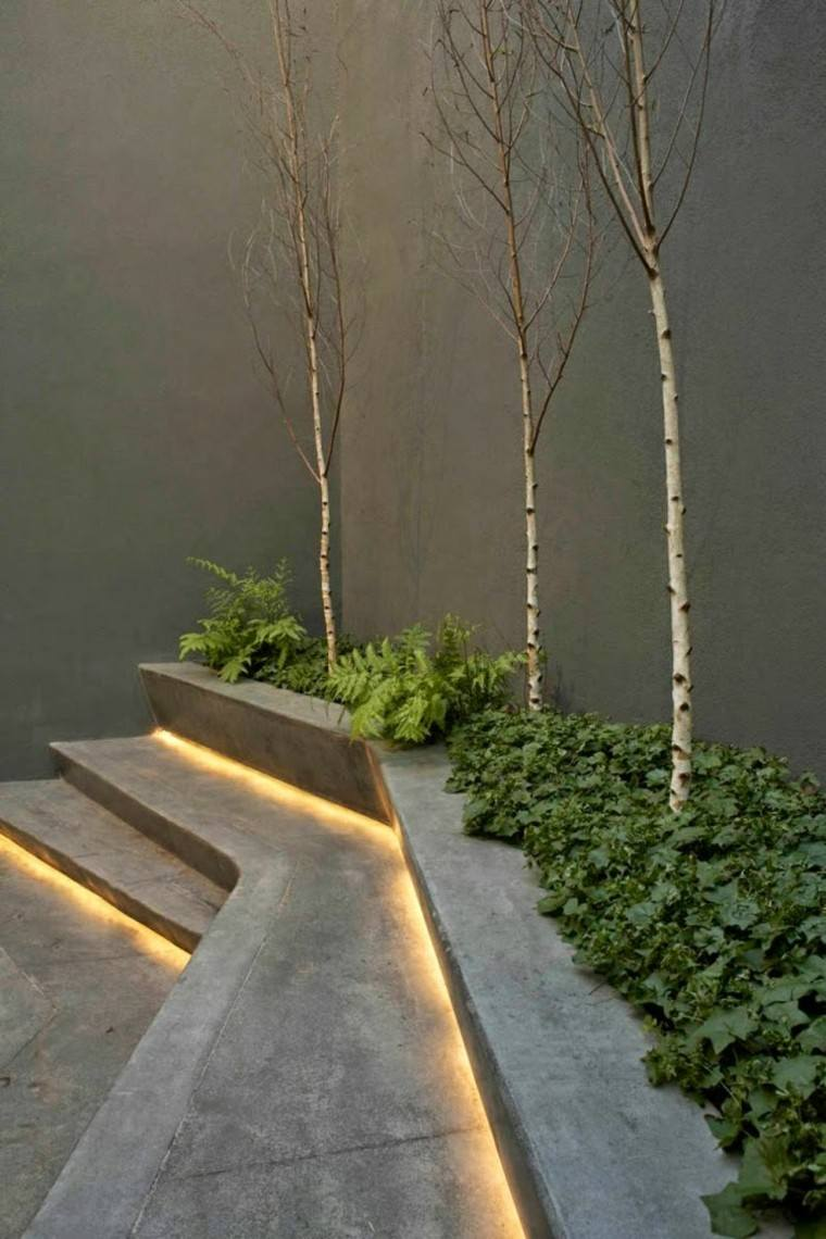 escalera pared arbol led gris