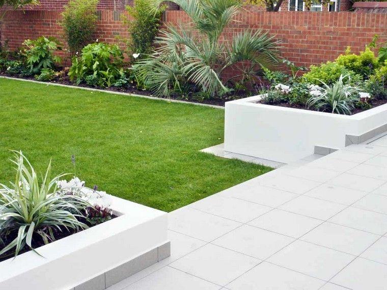 escaleras minimalista jardin diseño muro jardinera