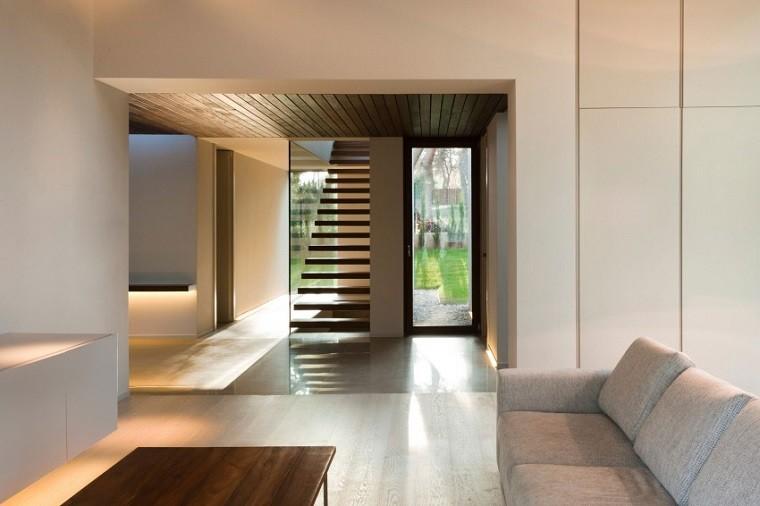 escaleras modernas flotantes madera teca