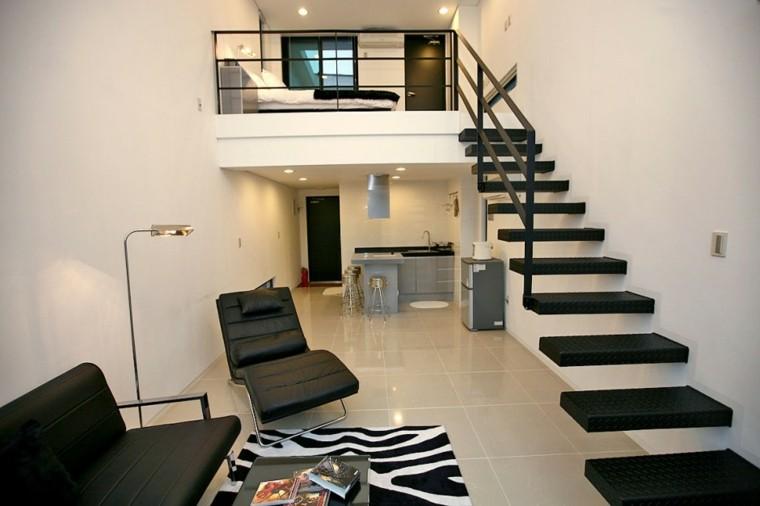 escaleras negras piso sala loft