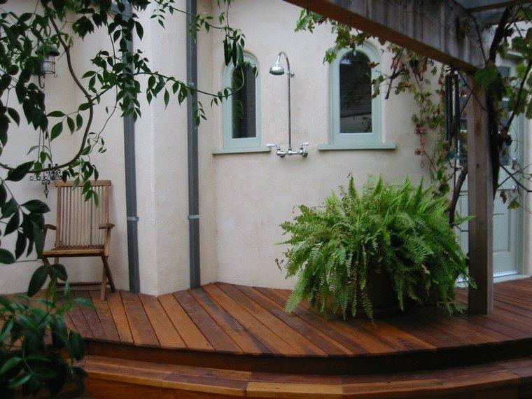 escalones plataforma madera teca ducha