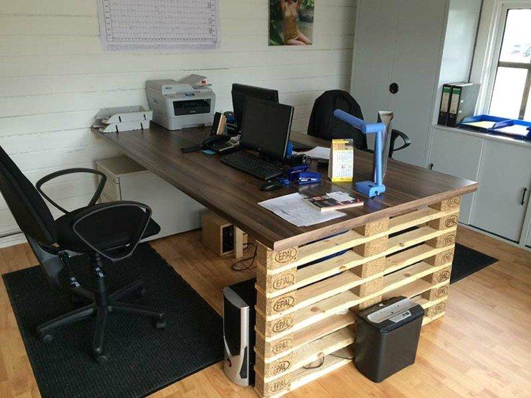 escritorio palet cesto diseño madera tratada