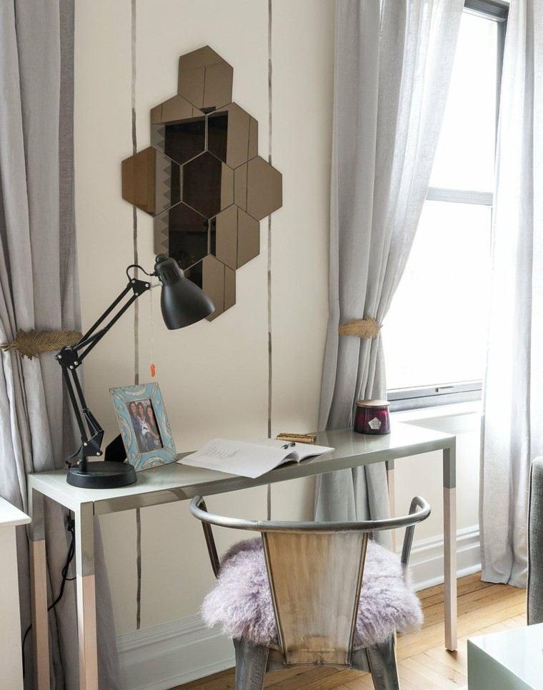 escritorio pequeno acero lampara pie negra ideas