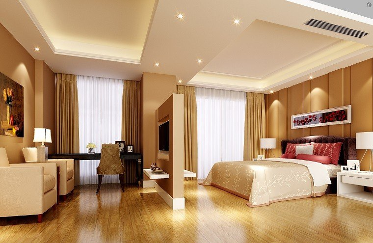 espacio dormitorio amplio beige ideas suelo madera