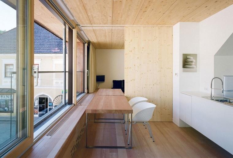 espacio pequeno madera cocina pared ideas