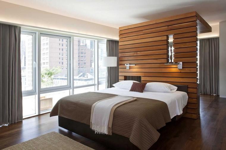 espacios laminas madera respaldo cama ideas original