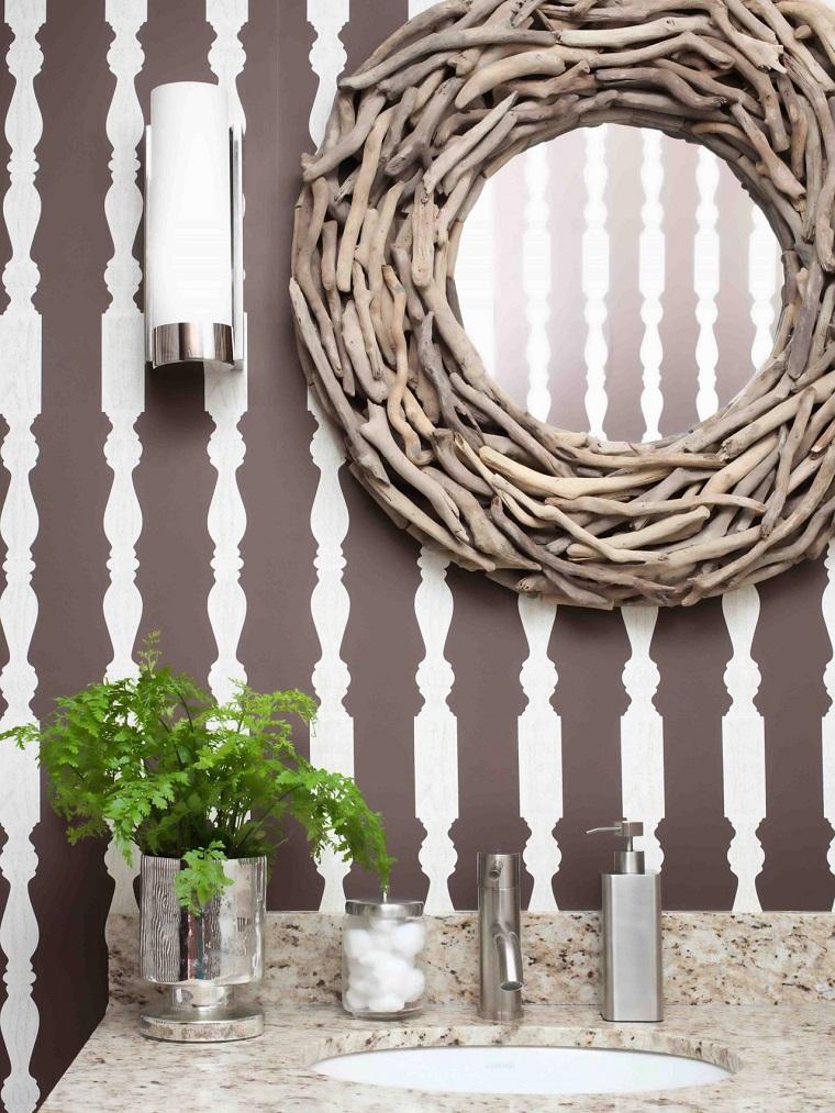 espejo papel-pared decorativos jarron banos pequenos modernos ideas