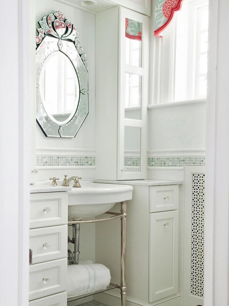 espejo precioso decorativo banos pequenos modernos ideas