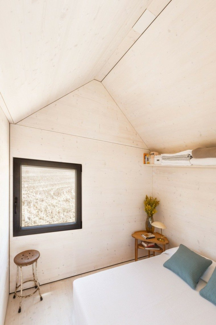 esquina dormitorio taburete cojin azul
