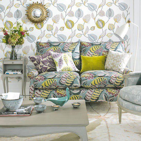 estampas florales papel pared sofa ideas modernas