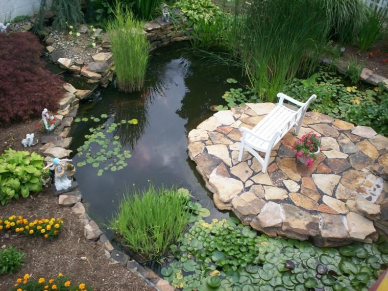 estanque grande banco blanco espacio tranquilidad ideas