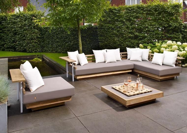 estanque mobiliario moderno flores muebles exterior