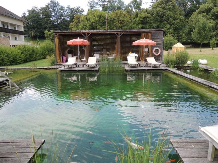 estanque peces jardin amplio pegola ideas bonitas