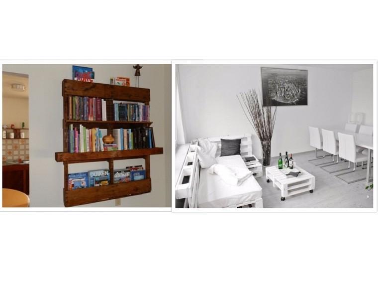 estante blanco cuadros sillas libros sofá