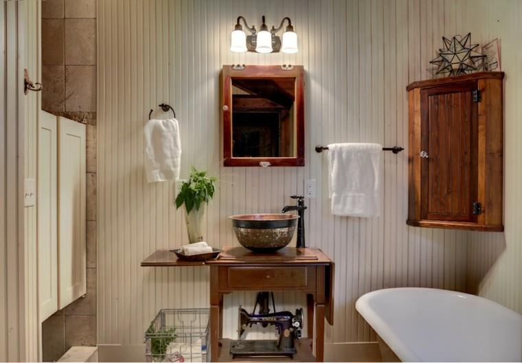 estante rustico calido bañp lampara acogedor