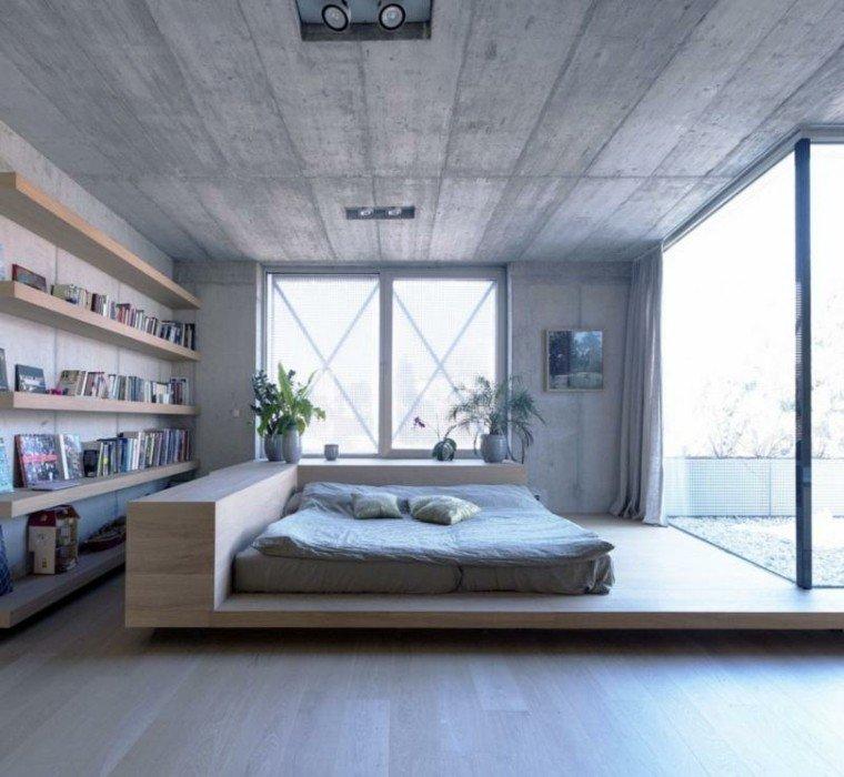 estanterias cama madera dormitorio vental ideas