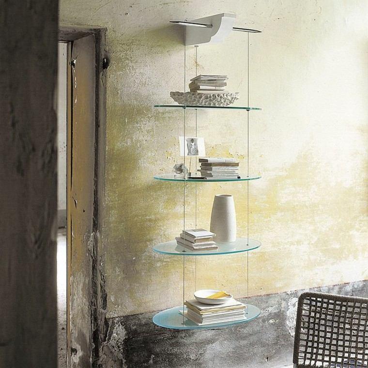 estanterias cristal colgando pared ideas diseno original moderno