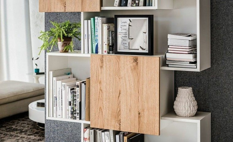 estanterías de madera color blanco libros macetas decoracion salon ideas