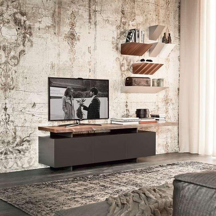 estanterías de madera diseno salon moderno ideas