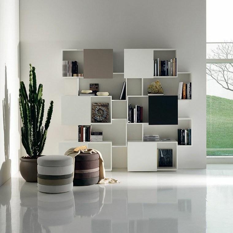 estanterías de madera diseno salones amplios taburetes modenos