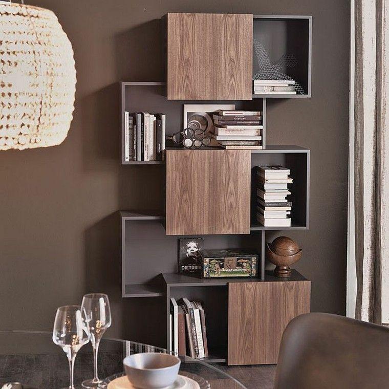 Estanter as de madera o cristal para salones de dise o - Diseno salon ...