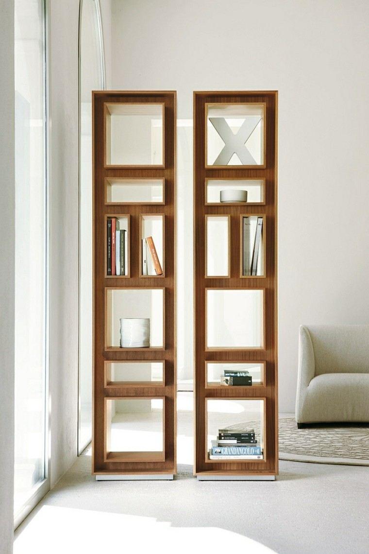 Agradable  Estanterias Para Libros #1: Estanterias-diseno-estrechas-altas-libros-salon.jpg