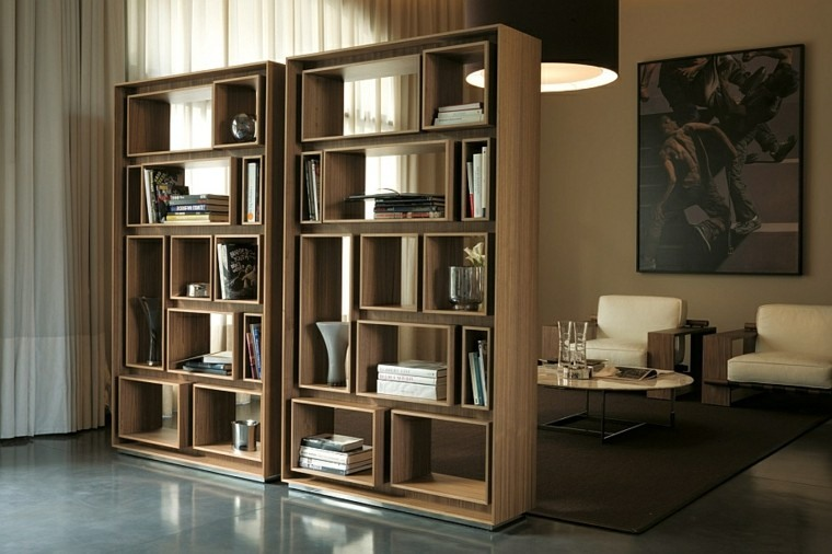estanterias grandes madera estantes libros decotaciones salon amplio moderno