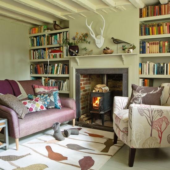 estanterias libros lados chimenea salon ideas modernas