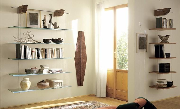 estanterias madera cristal cuelgan pared diseno preciosas modernas
