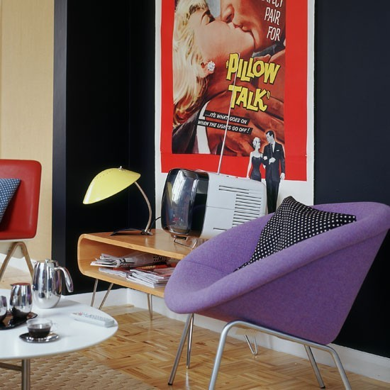 estilo retro sillon color purpura comodo ideas