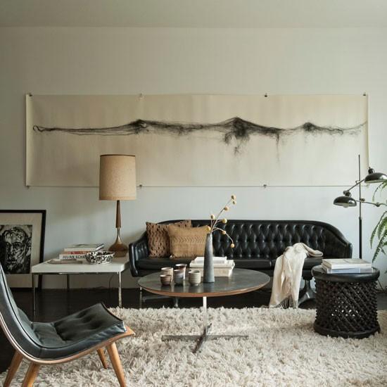estilo retro sofa cuero negro idea interesante decora pared moderno