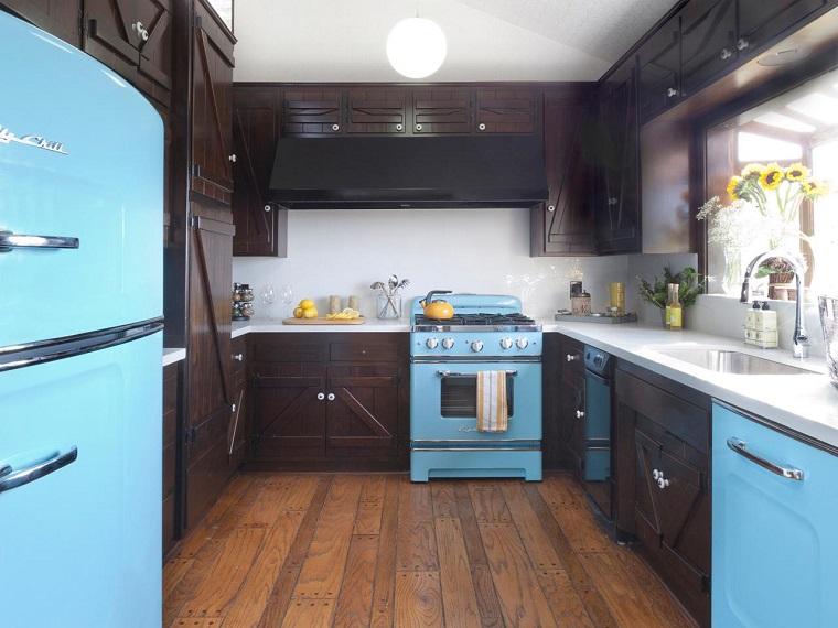 estilo rusctico cocina vintage electrodomesticos azul ideas