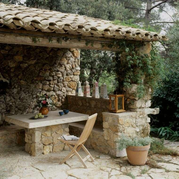 estilo rustico jardin mesa bancos piedra ideas with diseo de jardines pequeos rusticos