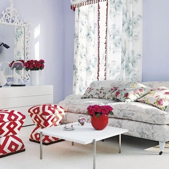 estilo shabby chic salon cojines cortinas estampas florales ideas