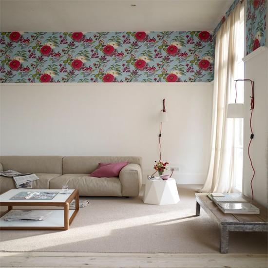 estilo vintage papel pared flores sofa beige mesa cafe madera ideas