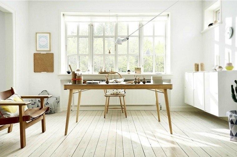 estudio escandinavo diseño mesa madera