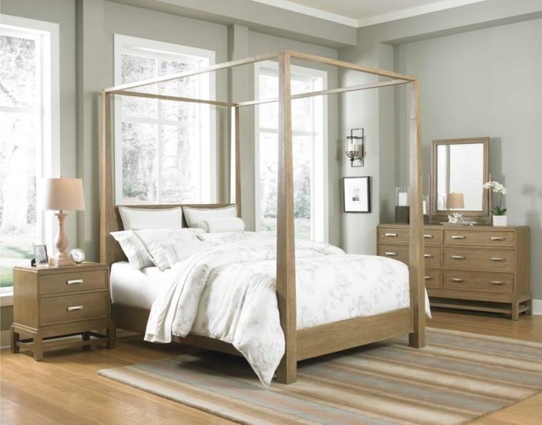 estupenda cama dosel madera moderna