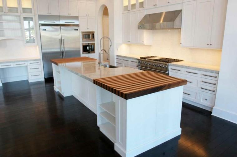 blanco y madera cincuenta ideas para decorar tu cocina - Encimeras De Cocina Aglomerado