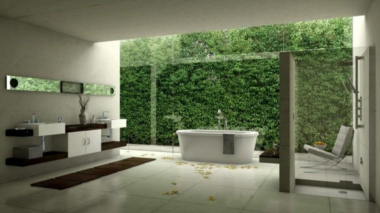 estupendo baño vistas jardin vertical