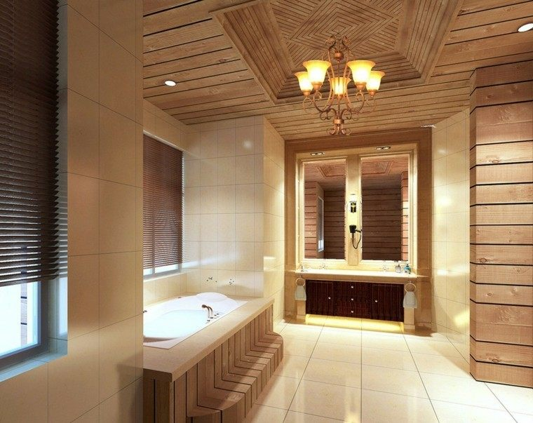 Techos de madera cincuenta ideas modernas - Plafond bois salle de bain ...