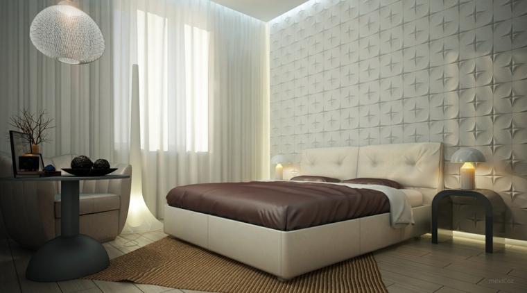 estupendo diseño dormitorio pared relieve