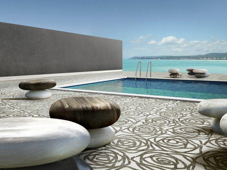 estupendo muro piedras lisas piscina
