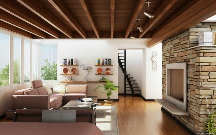 estupendo salon moderno madera chimenea