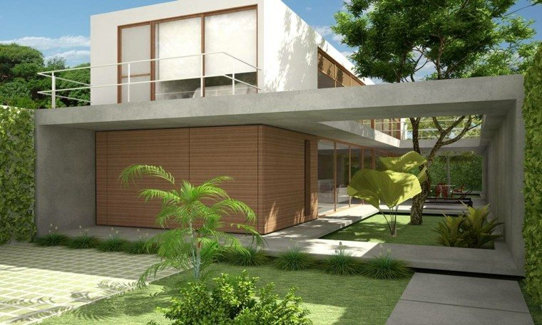 Revestimiento de paredes exteriores 50 ideas for Fachadas de casas con porche