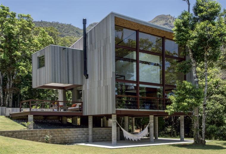 fachada pvc madera gris casa