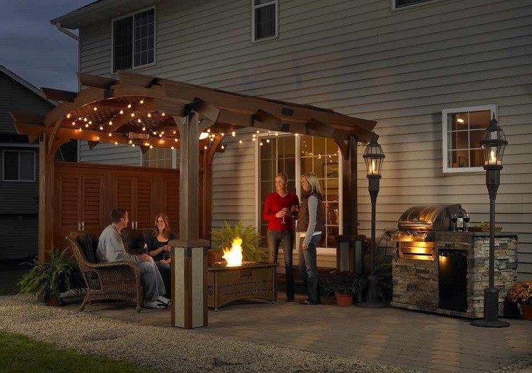 fiesta fuego mesa noche luminarias