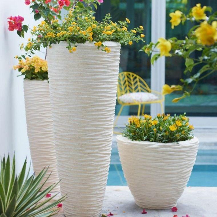 flores amarillo textura macetas blancos