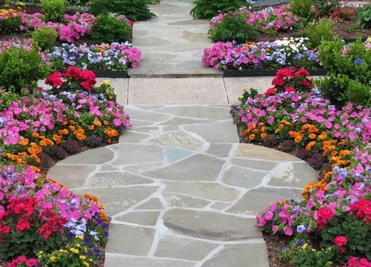 flores jardin preciosas colores piedras ideas