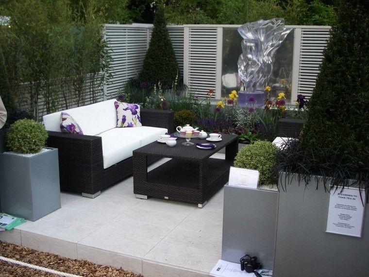 flores relajado jardin cojines muebles exterior